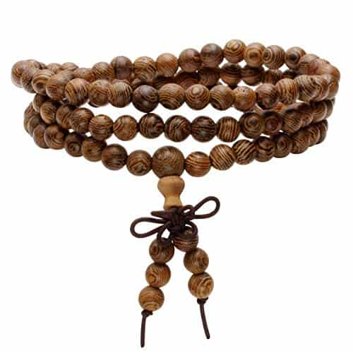 Milakoo's 6mm 108 Wood Beads Mala Prayer Necklace