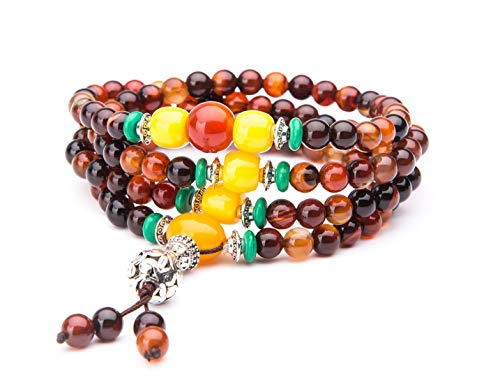 Edenkiss' Vintage Style Natural Obsidian & Stone Mala Prayer Beads